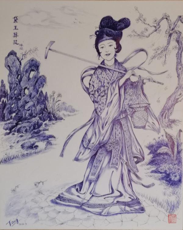 滕飞原创奉献:黛玉葬花