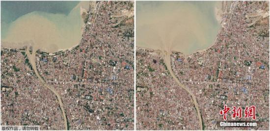 当地时间10月2日,外媒公开了一批卫星拍摄的印尼地震海啸发生前后对比图。从照片中可以看出,受灾地区经过地震海啸后受损严重。