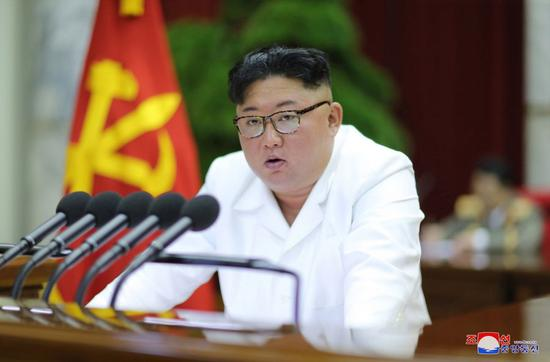 File photo handed out by the Korean Central News Agency (KCNA) on Dec. 30, 2019 shows Kim Jong Un, chairman of the Workers' Party of Korea (WPK), addressing the 5th Plenary Meeting of the 7th Central Committee of the WPK in Pyongyang, the Democratic People's Republic of Korea (DPRK). (KCNA/Handout via Xinhua)