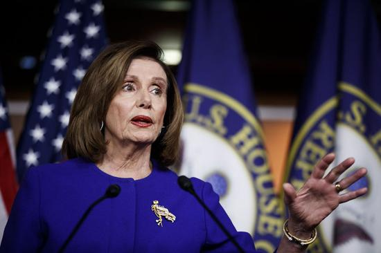 U.S. House Speaker Nancy Pelosi speaks during a press conference on the Capitol Hill in Washington D.C. Jan. 9, 2020. (Photo by Ting Shen/Xinhua)
